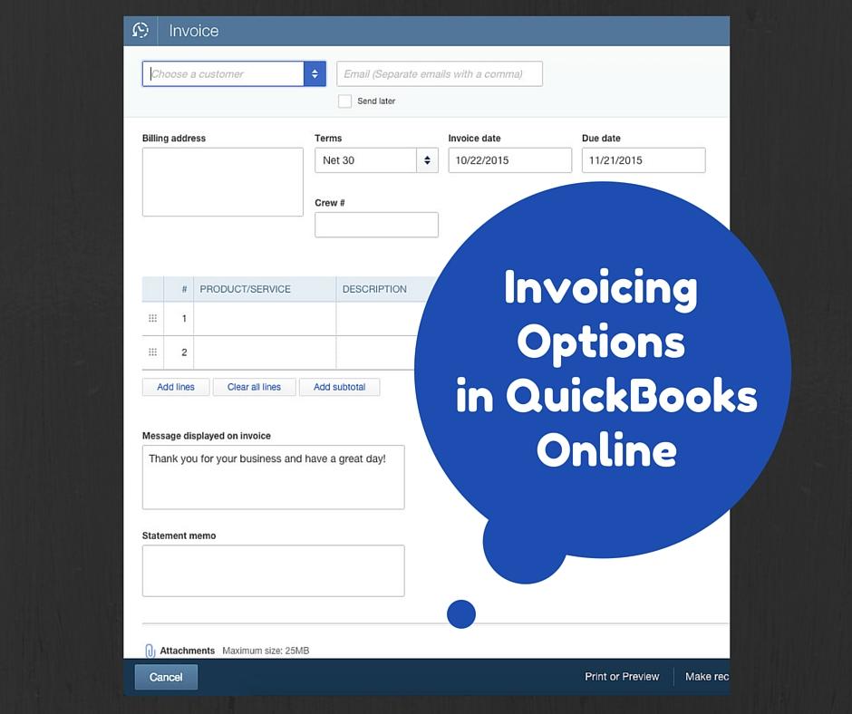 QuickBooks Online Invoicing Options - Creating an invoice in quickbooks plus size online stores