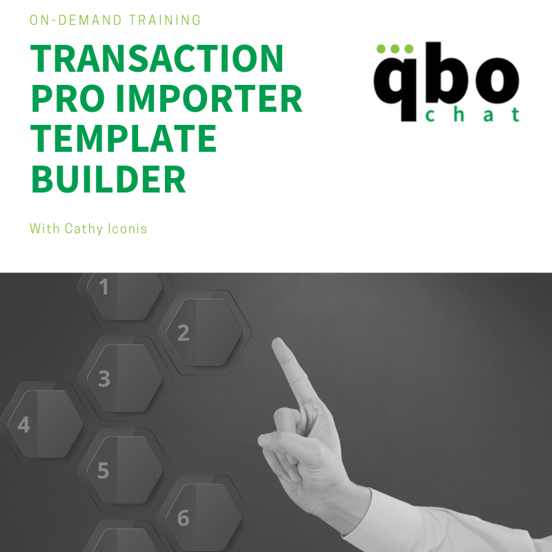 Transaction Pro Importer Template Builder On-Demand QuickBooks Training