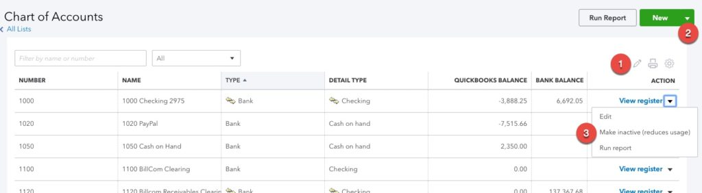 Screenshot of a quickbooks chart of accounts.