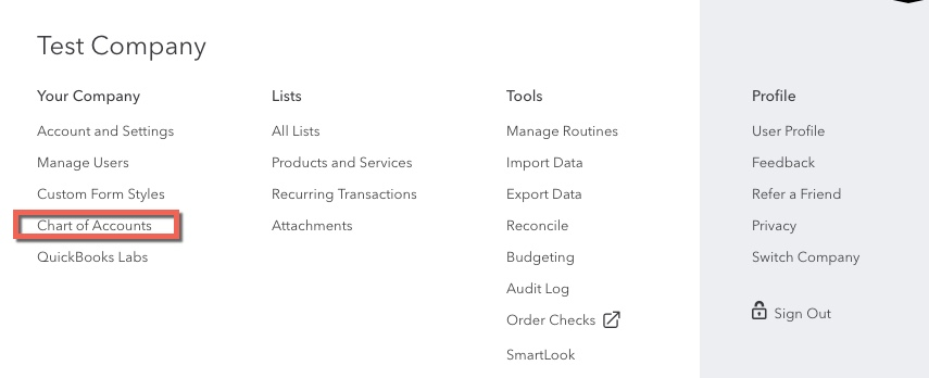 Screen shot of QBO outlining a link to Chart of Accounts