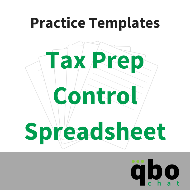 Practice Template - Tax Prep Control Spreadsheet