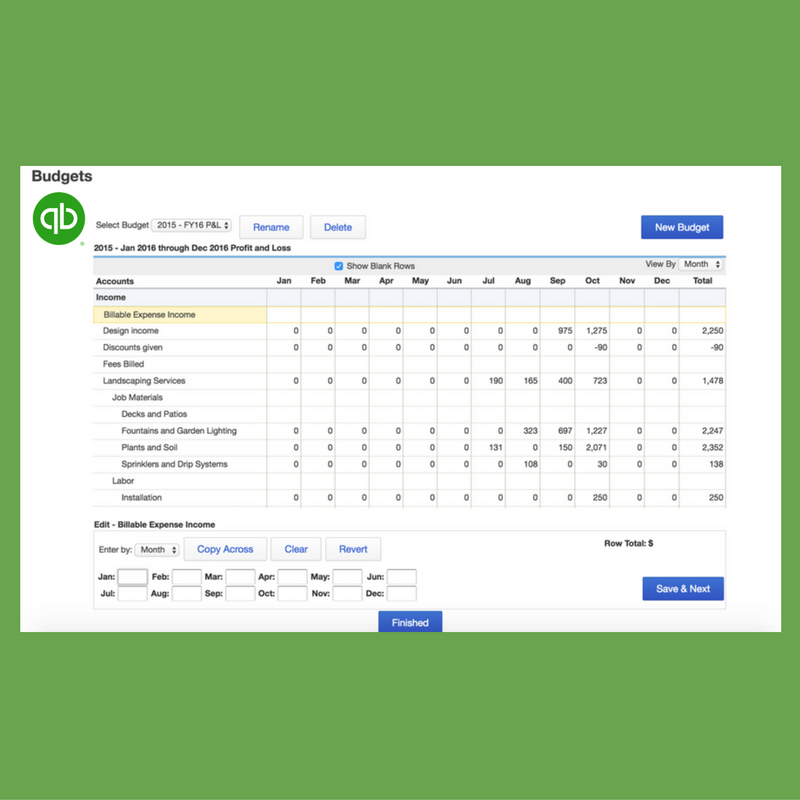 Creating a budget in QuickBooks Online